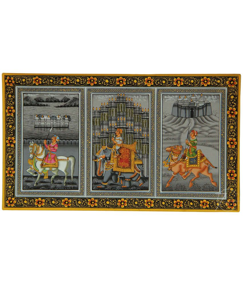 Handmade Rajasthani Miniature Painting- Elephant,Horse,Camel and Palaces (With Black Frame)