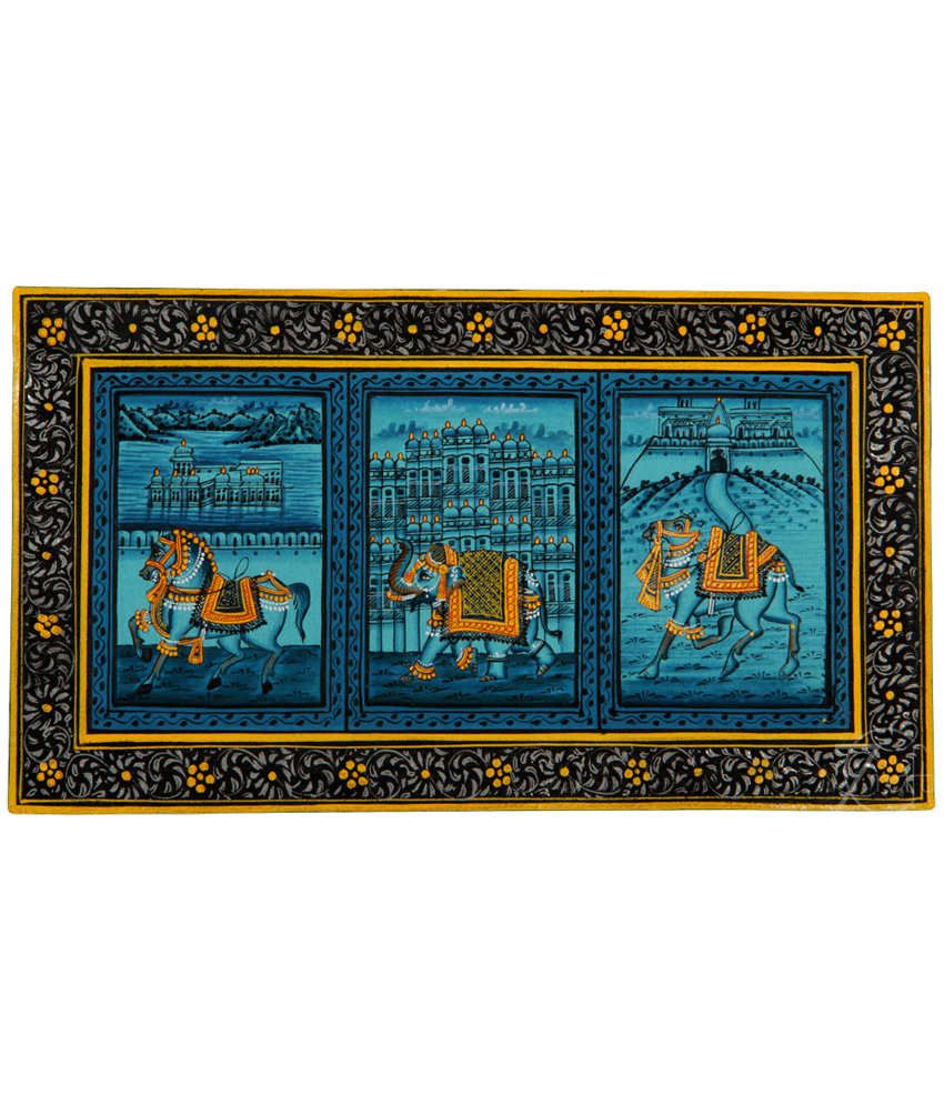 Handmade Rajasthani Miniature Painting- Elephant,Horse,Camel and Palaces (With Black Frame)