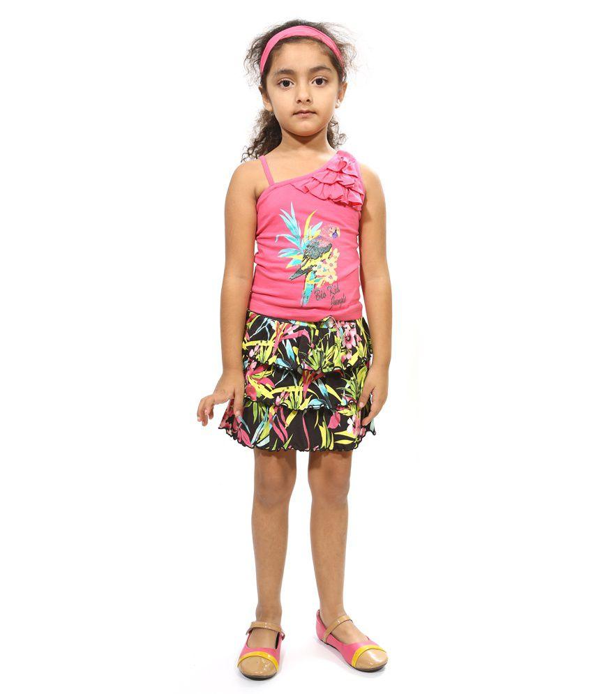Bio Kid Multi Color Cotton Sleevless Dress - 3 Pcs Set