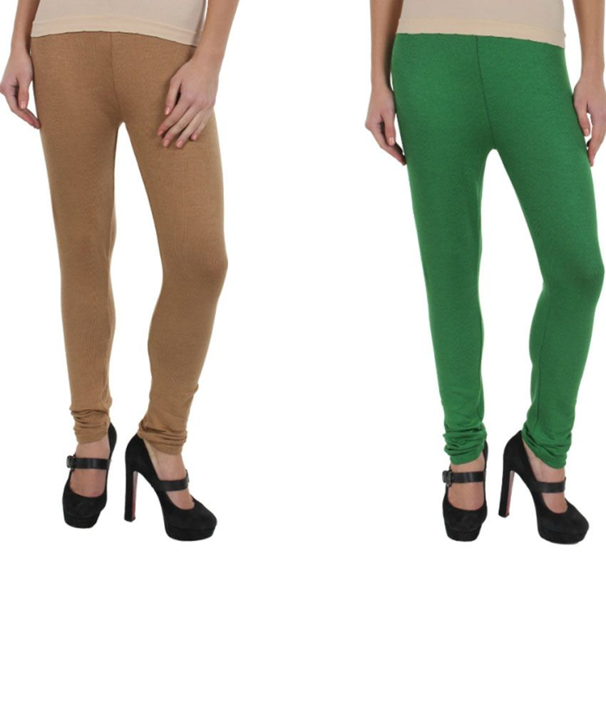 Kamaira Premium Beige And Green Woolen Leggings Set Of 2