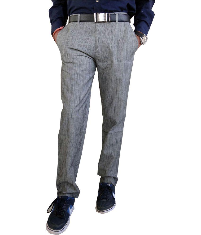 Oswal Dark Slub Cotton Trouser