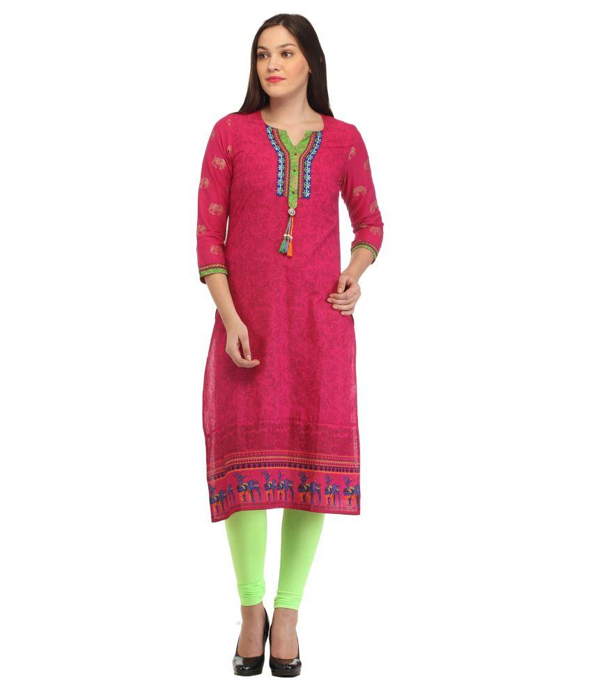 Roshi Pink Cotton Printed Kurti