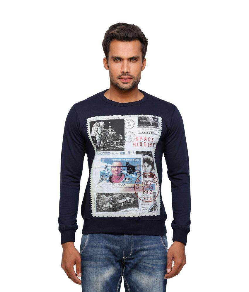 Status Quo Blue Printed Cotton Round Neck Full Sleeves Men T Shirt
