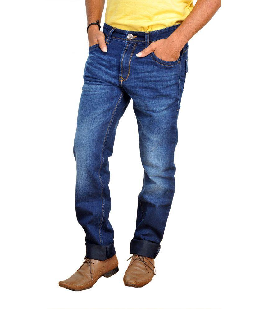 Wrangler Blue Cotton Slim Jeans With Topman Denim Half Sleeve Shirt Free