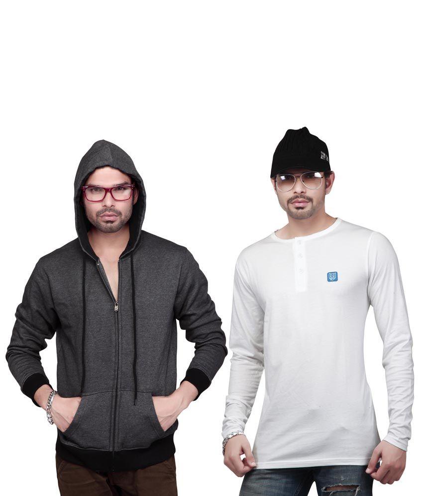Free Spirit Multicolor Cotton Blend Hooded Full Sleeves T Shirts For Men