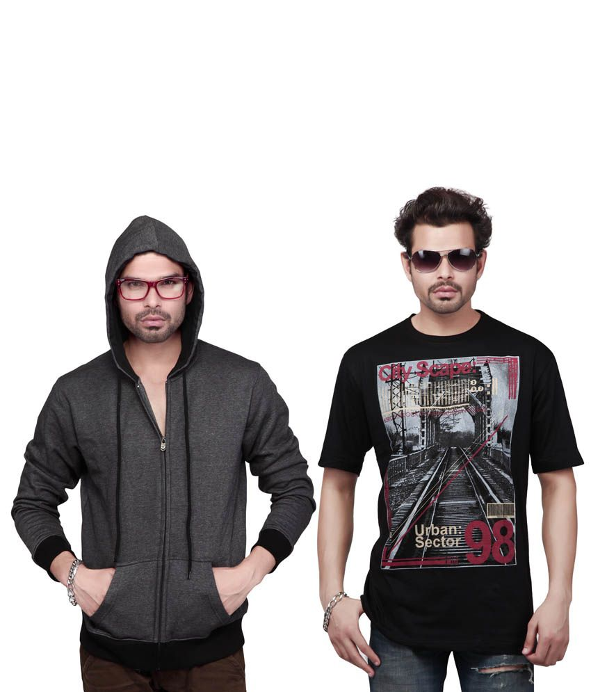 Free Spirit Multicolor Cotton Blend Hooded Half Sleeves T Shirts For Men