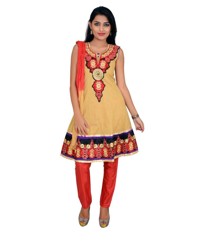 Prittygirl Beige Embroidered Cotton Stitched Anarkali Salwar Suit