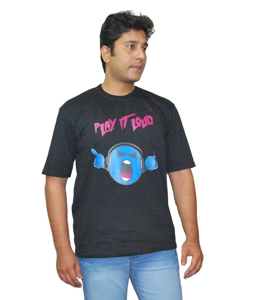 Ek Tarfa Black Cotton Half Sleeve Printed T-shirt