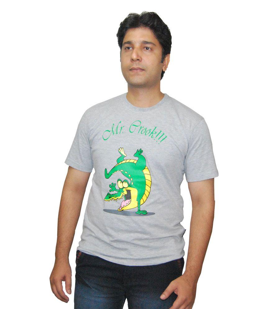 Ek Tarfa Gray Cotton Half Sleeve Printed T-shirt