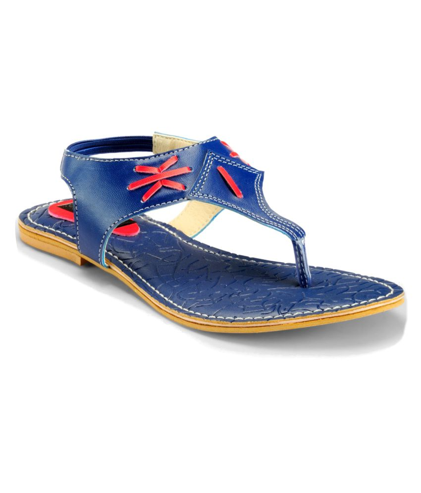 Nell Blue Flat Sandals