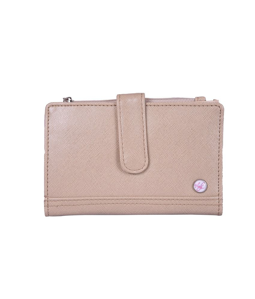 Nyk Beige Fashionable Non Leather Regular Wallet