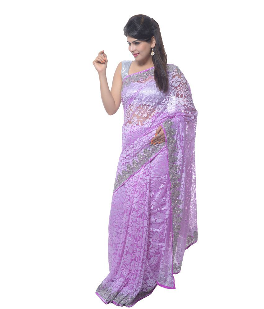aarti saree Purple Net Saree