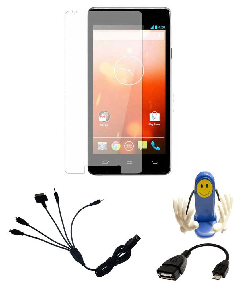 Micromax A106 Mirror Screen Guard with 5 In 1 Charging Cable And Otg Cable And Mobile Holder by Mydress Mystyle