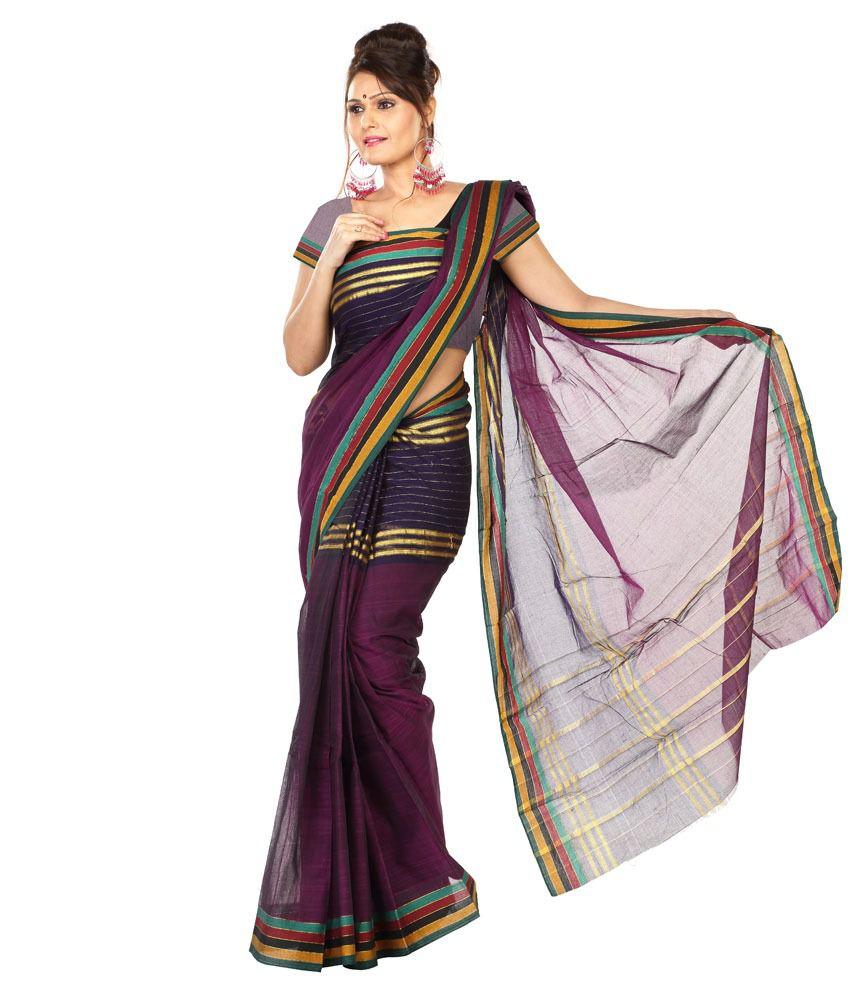 Paaneri Purple Cotton Saree
