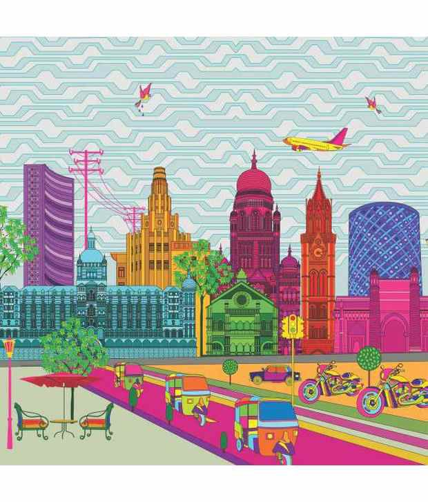 Buy marshall designer wallpaper by krsna mehta blue and for Buy art online india