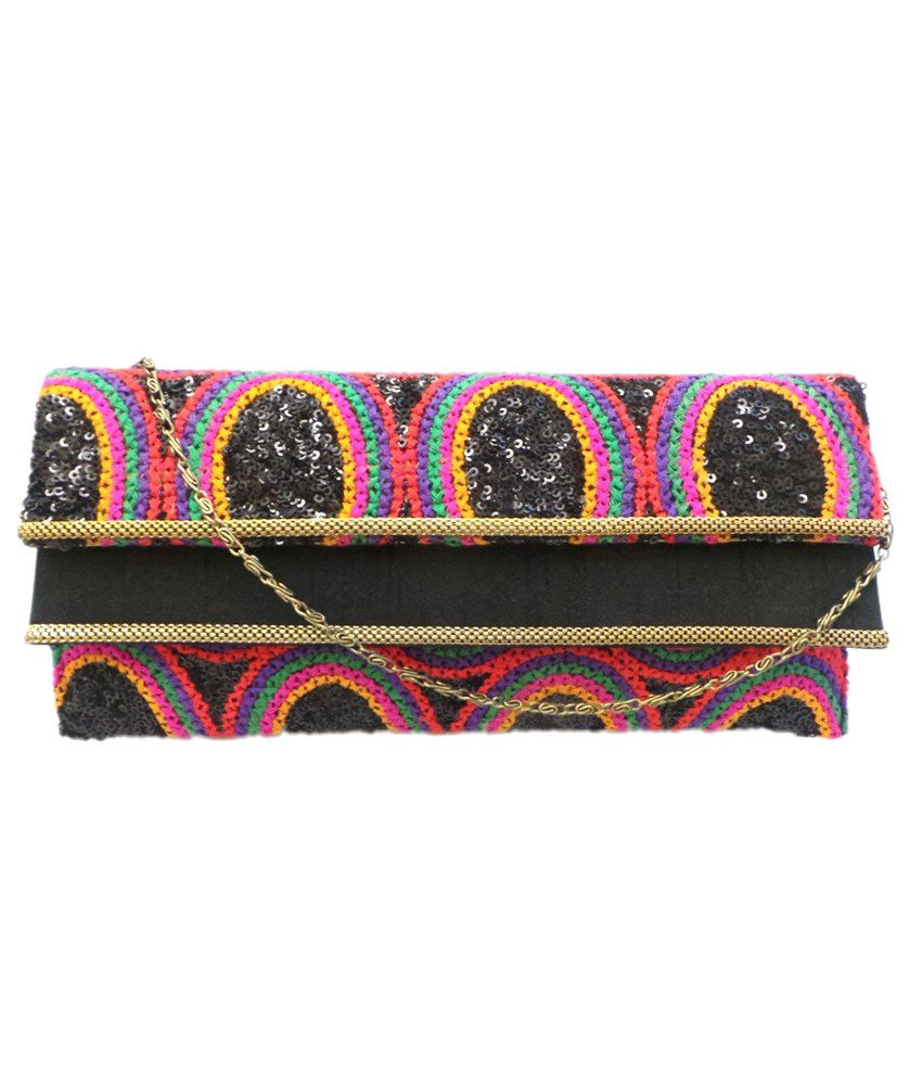 Bhamini Embroidered Clutch With Double Flap (design 2)