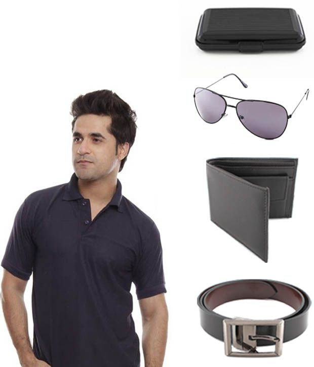 Keepsake Combo Of Black T-shirt , Wallet , Belt ,aviator Sunglasses , Cardholder