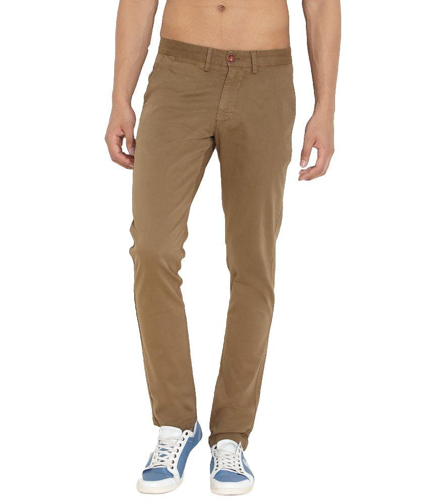 Rpmg Brown Cotton Blend Regular Jeans For Men