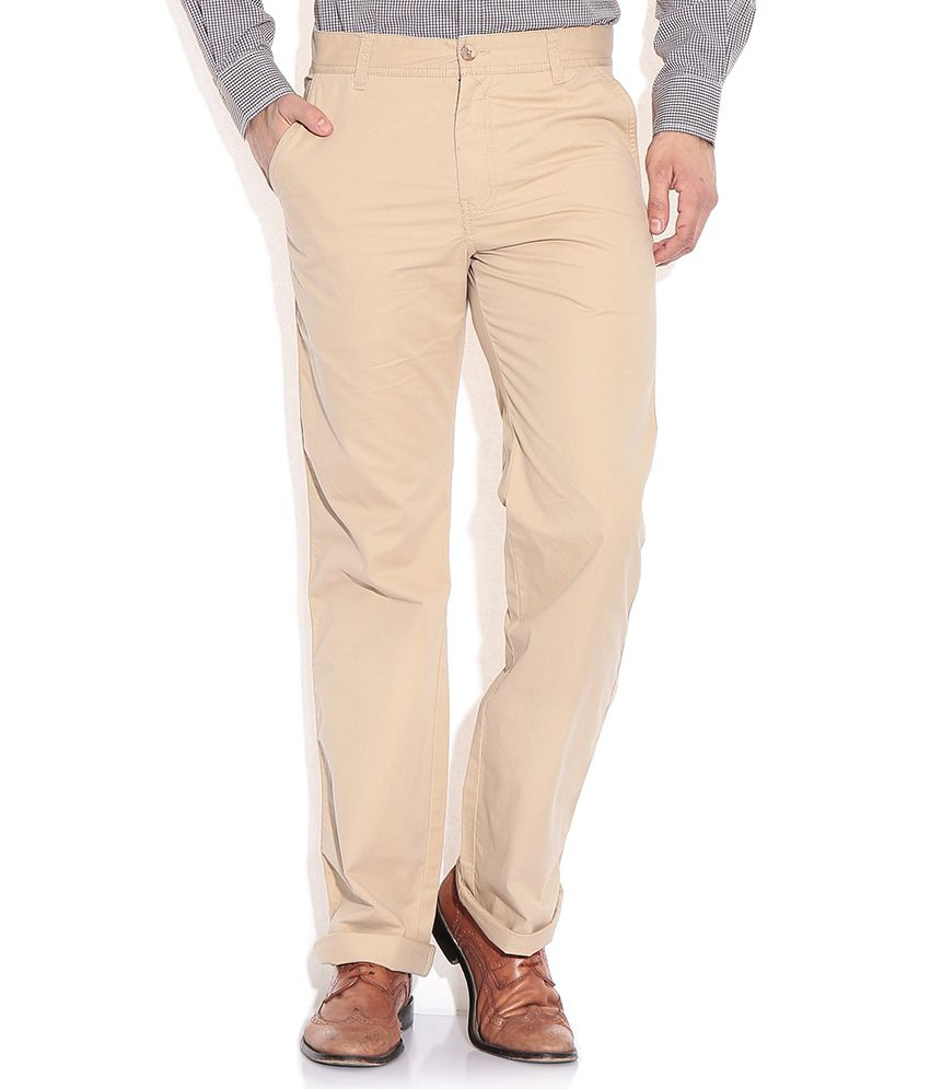 Wills Lifestyle Beige Slim Casual Trousers & Chinos