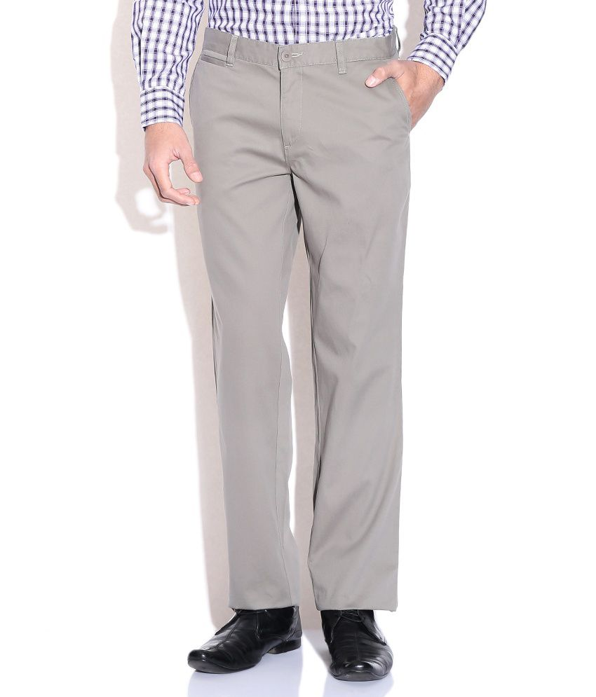 Wills Lifestyle Green Slim Casual Trousers & Chinos