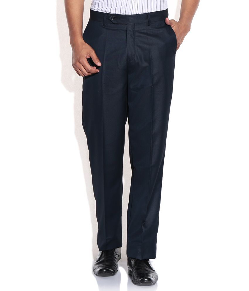 Wills Lifestyle Navy Slim Formal Trousers & Chinos