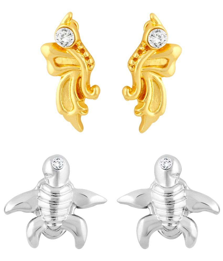 Mahi Majestic Combo Of Two Pairs Of Crystal Stud Earrings