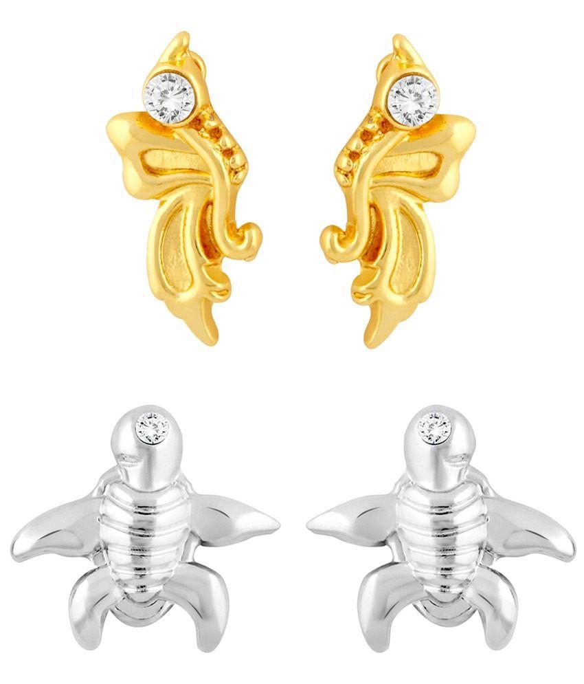 Mahi Majestic Combo Of Two Pairs Of Crystal Stud Earrings