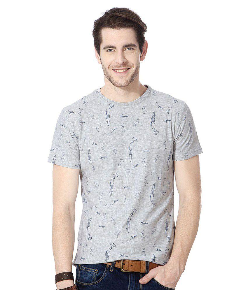 People Gray Cotton T-shirt