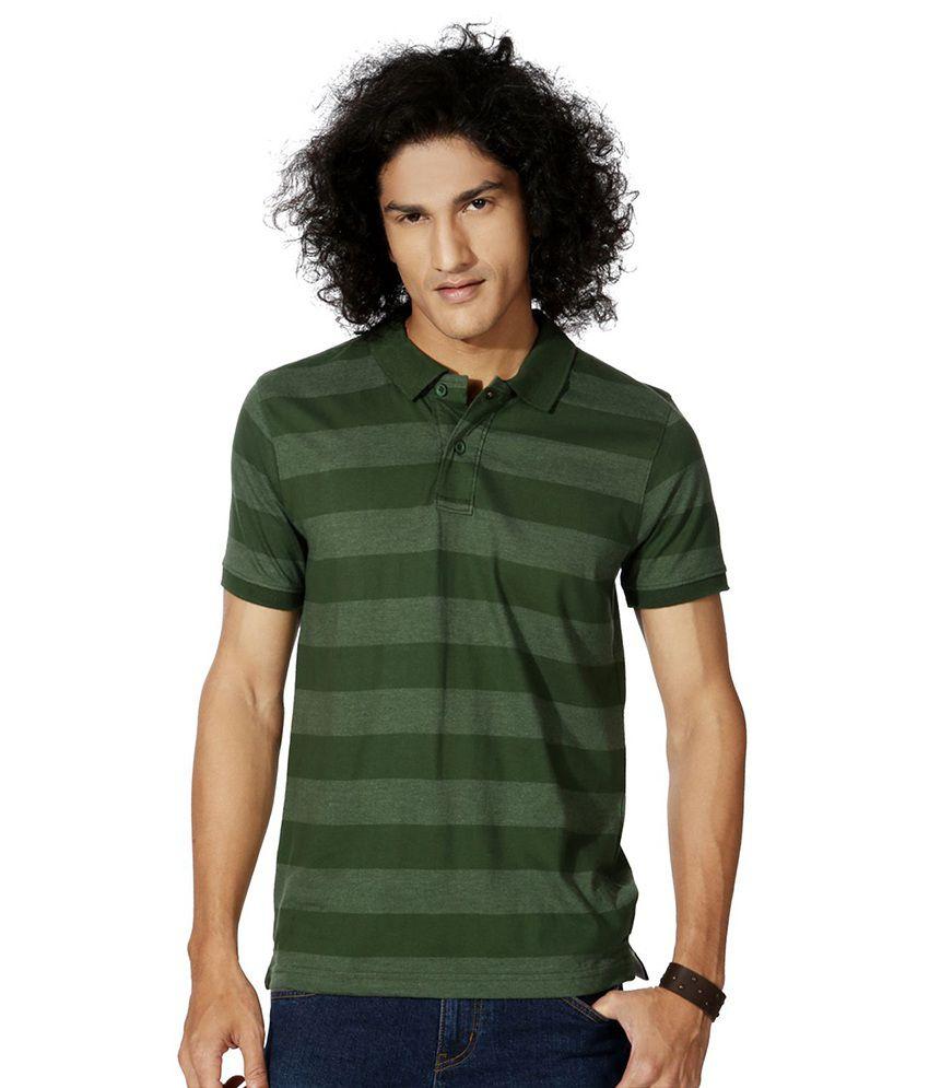 People Green Cotton Blend T-shirt