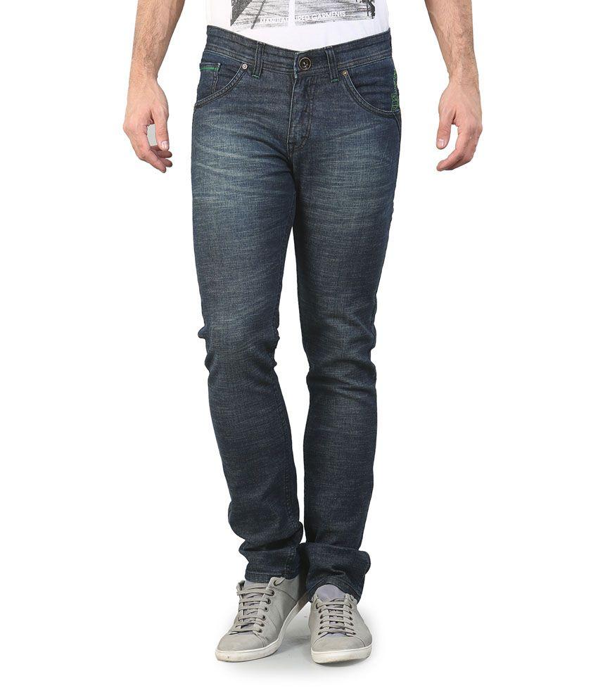 Platinum League Navy Cotton Blend Faded Jeans