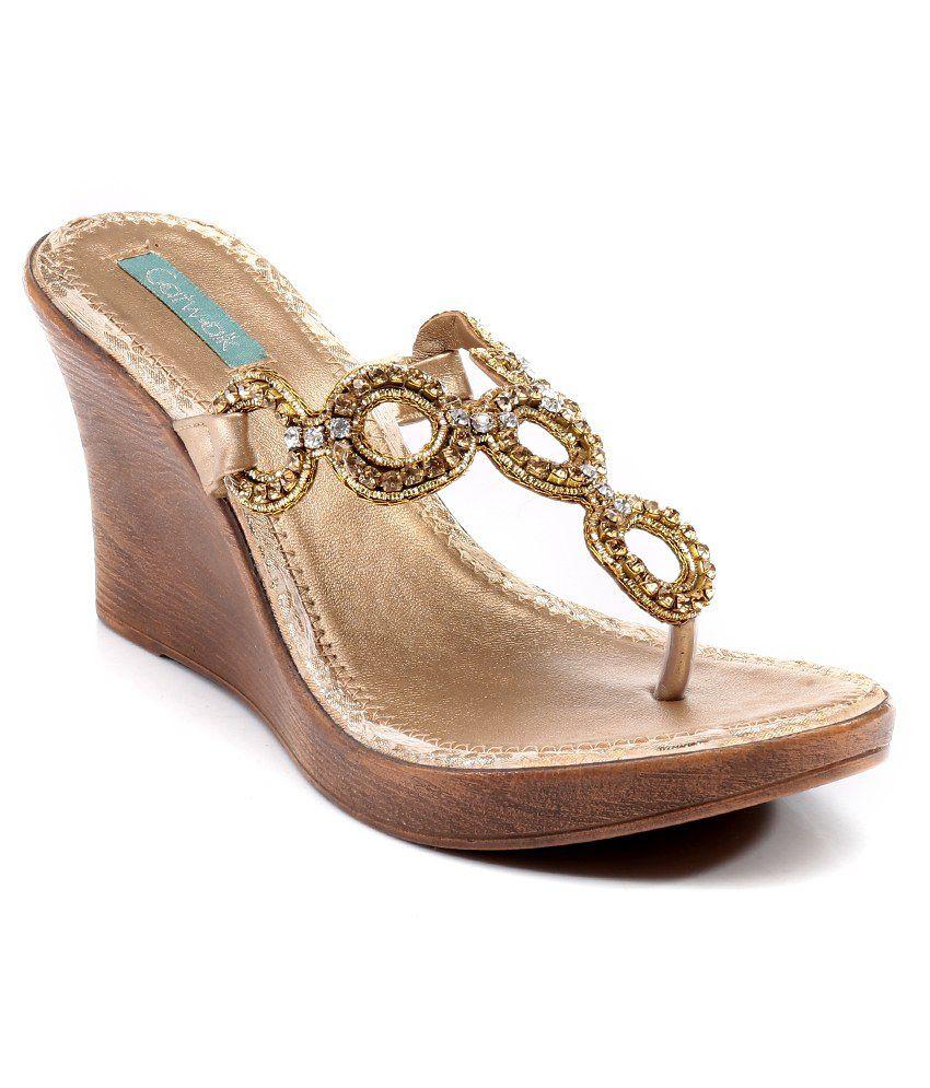 Catwalk Gold Heeled Slip-On Sandals