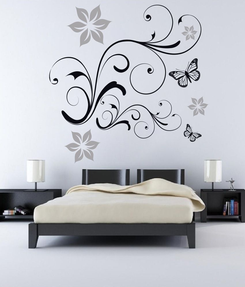 Snapdeal Wall Decor Items : Decor kafe butterflies floral wall decal buy