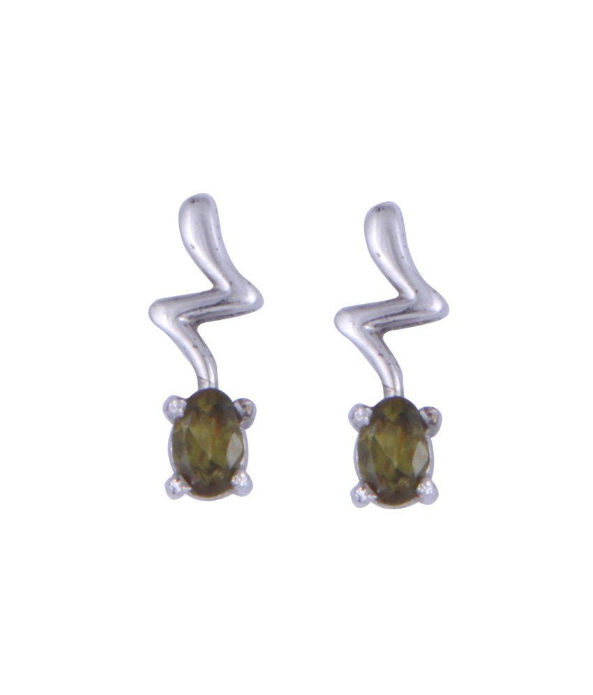 Devs Colour Spark Silver Rodhium Plated Peridot Earrings