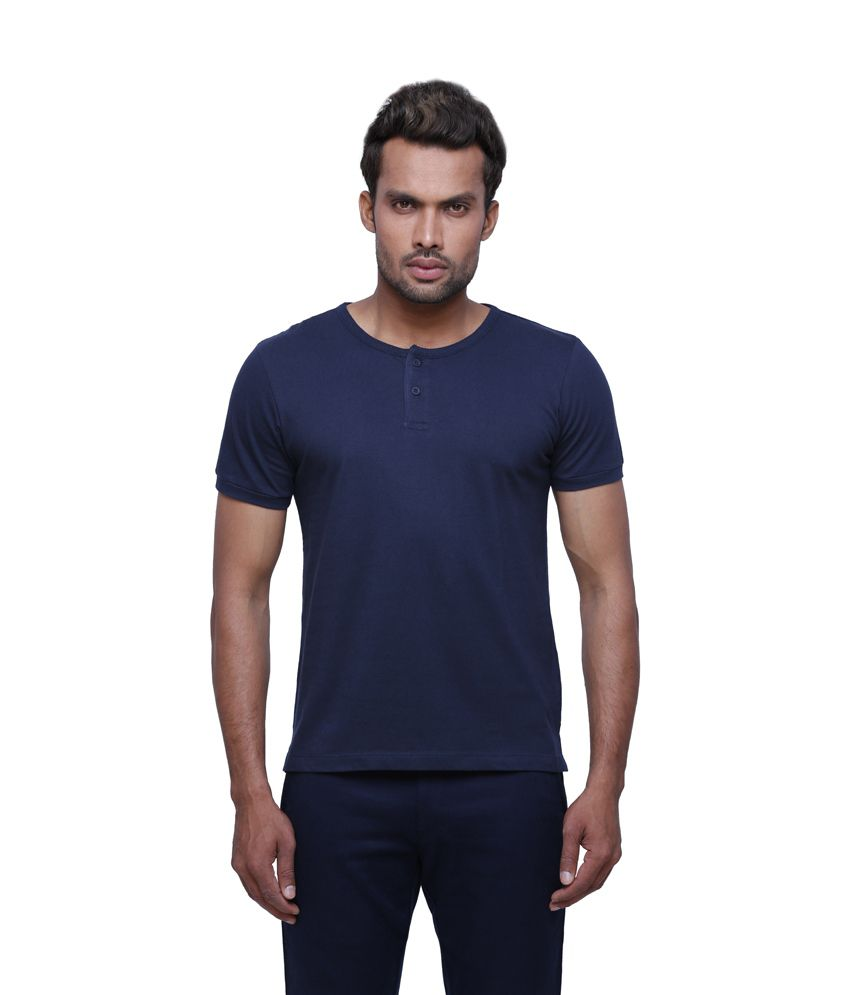 Globus Men Blue Casual T Shirt