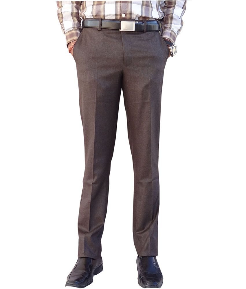 Ad & Av Brown Poly Viscose Formal Trousers