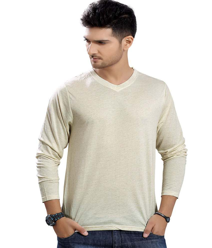 Stephen Armor Beige Solid Cotton V-neck Full Sleeve T-shirt