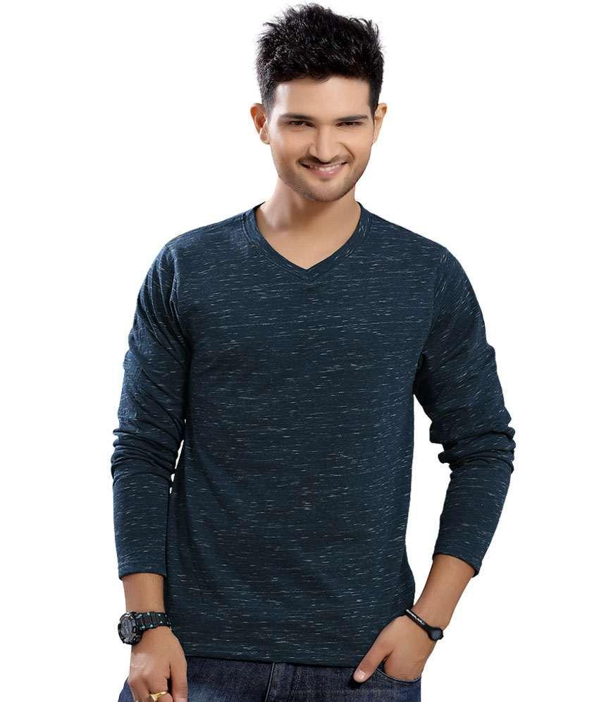 Stephen Armor Dark Navy Blue Solid Cotton V-neck Full Sleeve T-shirt
