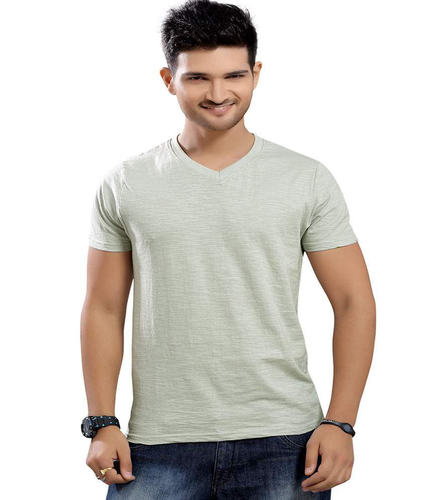 Stephen Armor Grey Solid Cotton V-neck Half Sleeve T-shirt