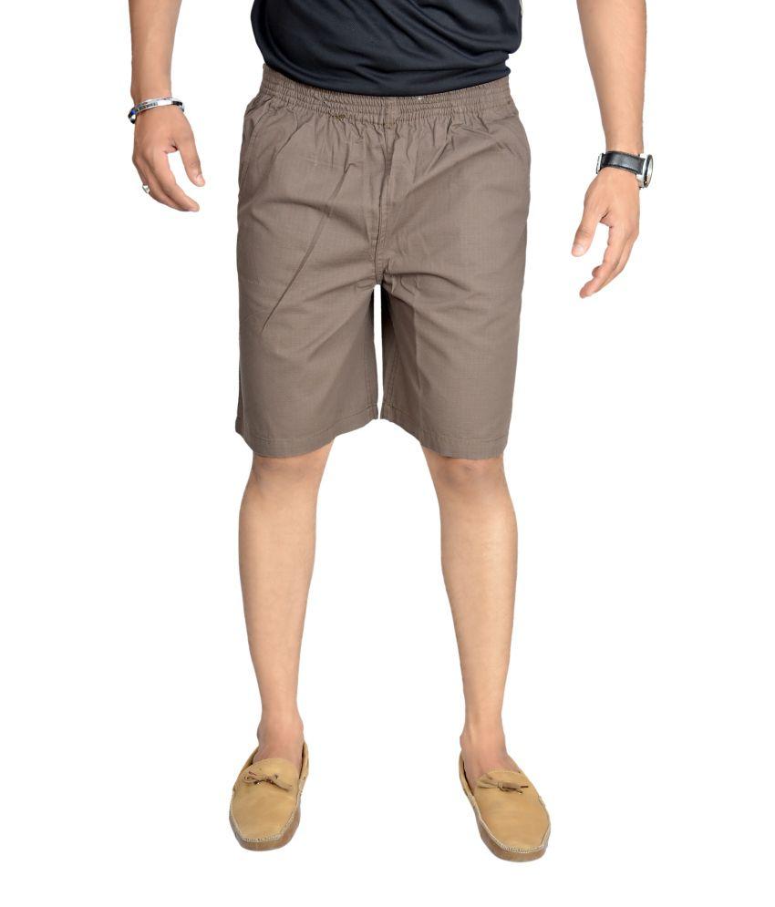 True Fashion Brown Cotton Cargo 3/4th Trouser