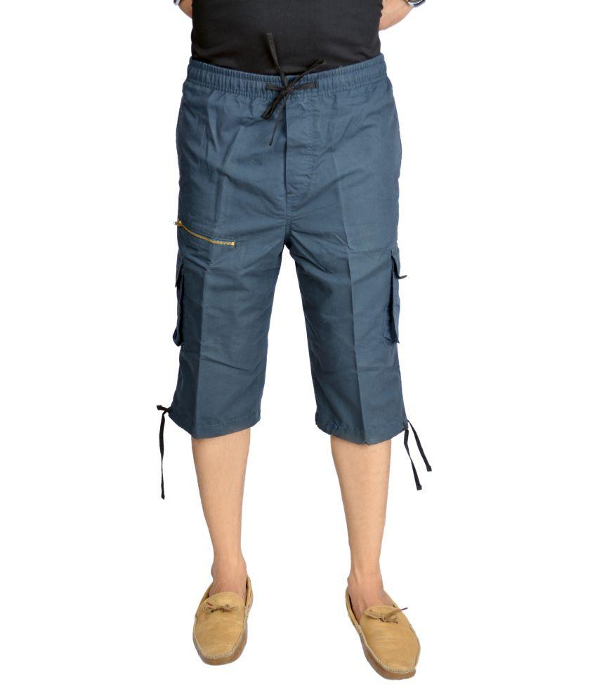 True Fashion Navy Cotton Cargo 3/4th Trouser