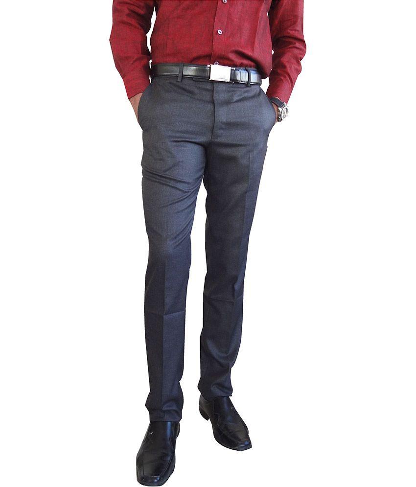 Ad & Av Black Poly Viscose Regular Fit Formal Trousers