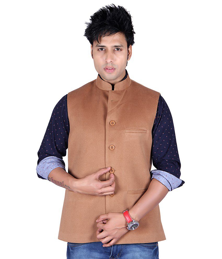 Aurah Tan Semi-formal Cotton Blend Waistcoats