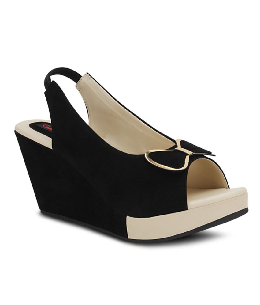 Get Glamr Black Wedges Sandals