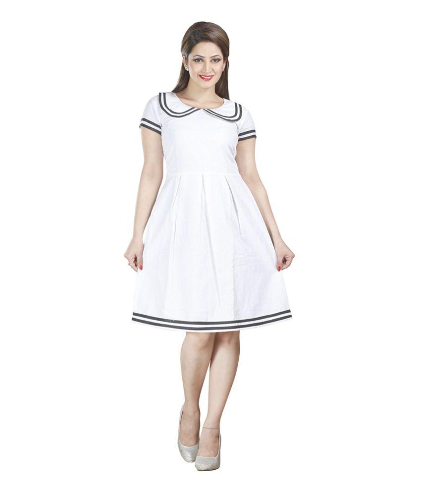H & F White Linen Medium Partywear Dress
