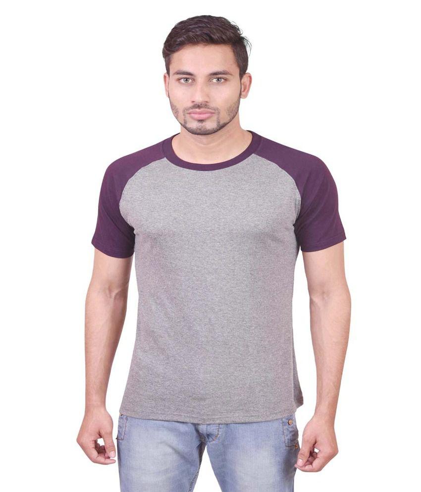 Indiemonk Purple Cotton Round Neck Basics T Shirt