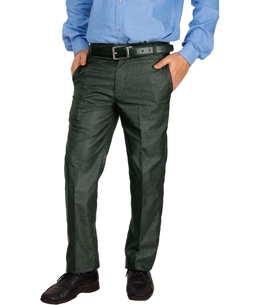 Lifestyle Gray Cotton Blend Regular Fit Men's Formal Trouser