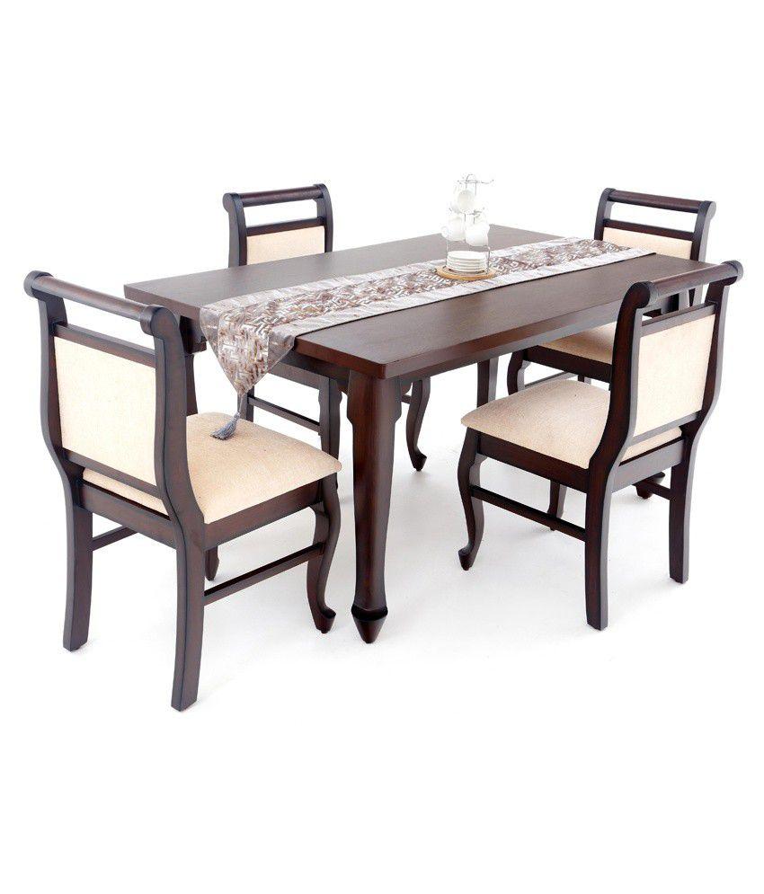4 Seater Dining Table Set Teak Veneer Finish Buy 4