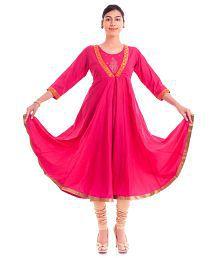 Naksh Jaipur Stylish Long Cotton Brocade Anarkali Pink Kurta