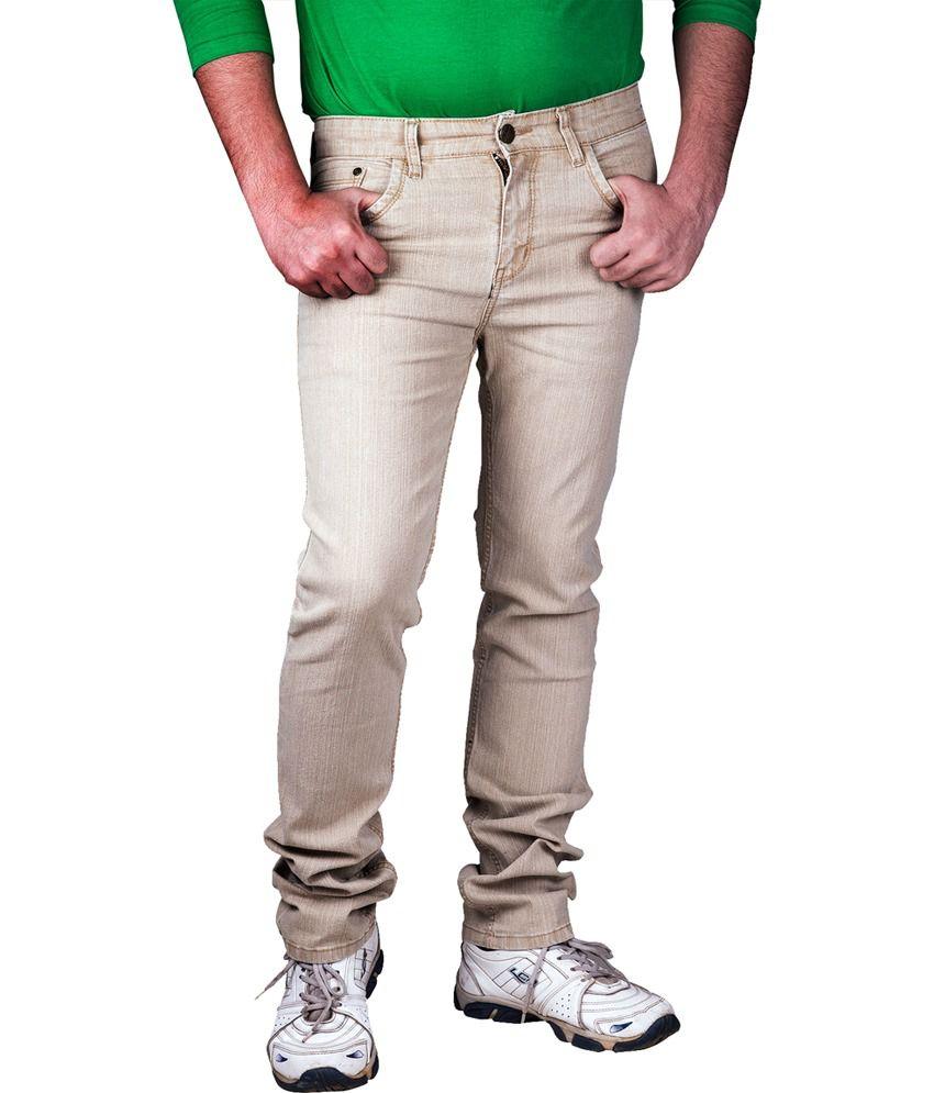Prankster Beige Cotton Blend Regular Fit Jeans