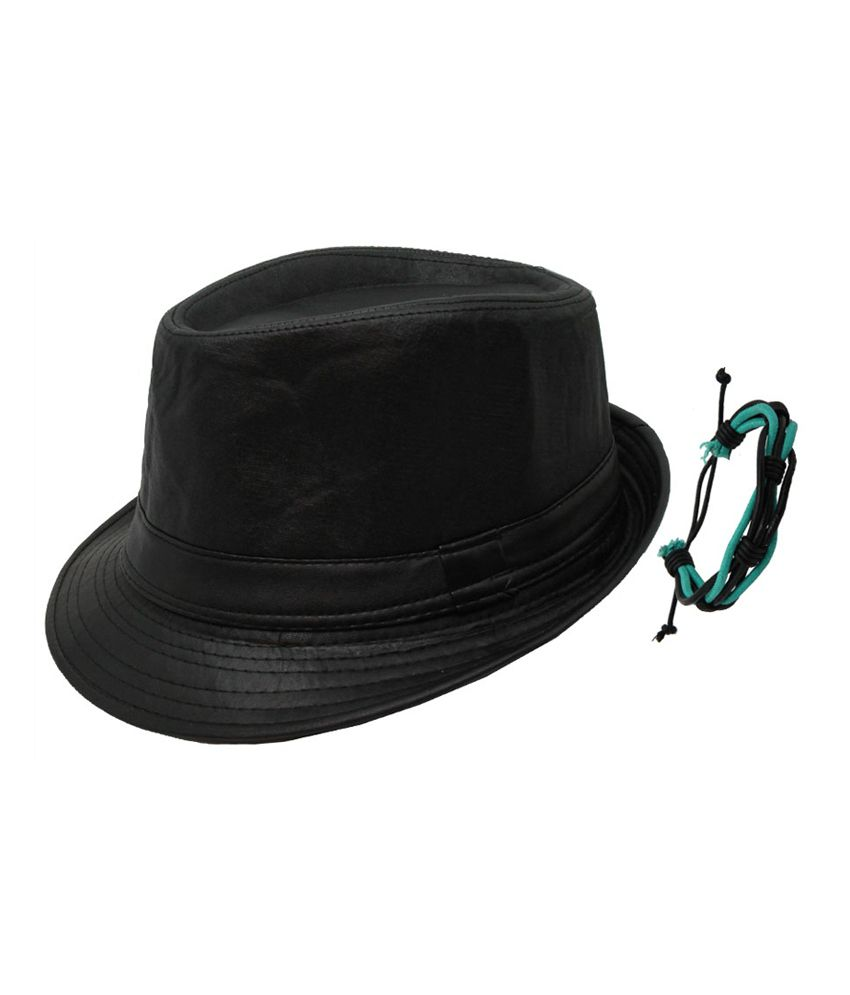 Jstarmart Black Leather Finish Hat With Wrist Band